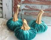 CUSTOM ORDER for afogelman1... 1 Turquoise Silk Velvet Pumpkin Handmade by avintageobsession on etsy