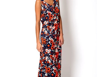 The Vintage Navy Orange Floral Boho Dress