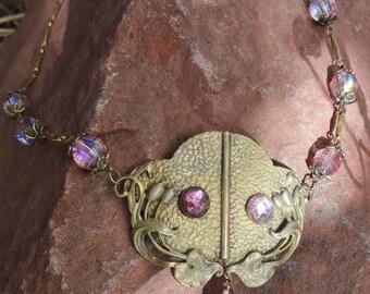 Vintage Art Nouveau Necklace--Pinks