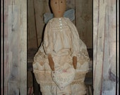 Primitive folk art tall rag doll angel shabby lace country chic bald cancer awareness hope metal wings HAFAIR ofg FAAP