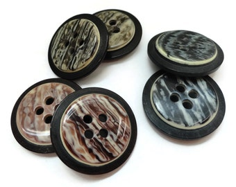 Mid Century Vintage Buttons - 6 Blazer Buttons Your Choice of Sizes and Colors for Coat Front and Sleeves 7/8 inch 5/8 inch 22mm 15mm