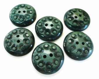 Mid Century Vintage Buttons - 6 Deep Green French Plastic Sew Through 3/4 inch 19mm