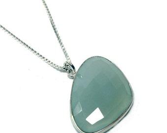 Sterling silver, Calsedon handmade Necklace -  elegant, modern, fashion, minimalist, gem, triangle drop - Free shipping!