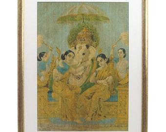"Ganesha Siddhi Riddhi Framed Art Painting by Raja Ravi Varma (w)13""x18.5""(h) Hindu Hinduism Picture India Indian Fine Arts Oleograph P005"