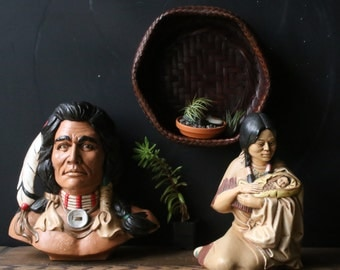 Vintage Native American Plaster Sculptures Home Decor 70s, Vintage From Nowvintage on Etsy