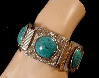 Vintage Faux Turquoise Bracelet stamped Silvertone floral setting
