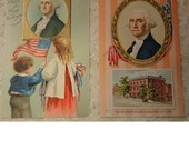 Antique Vintage George Washington Postcards - Set Of 2 - 1910 - Patriotic Postcards