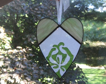 Stained Glass Heart Suncatcher Vintage Hanky One of a Kind
