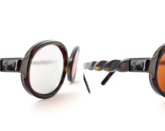 Gorgeous YSL Oval Eyeglass Frame John Lennon Glasses Steampunk Faux Tortoise Harry Potter Prescription Sunglasses Yves Saint Laurent Italy