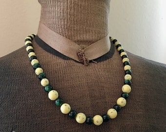 Vintage Green Moonglow Lucite and Rhinestone Encrusted Yellow Plastic Bead Necklace