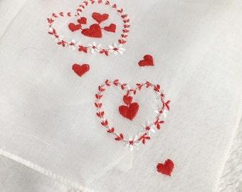 Vintage Embroidered Hearts Valentines Day Handkerchief