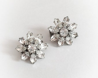 Vintage Rhinestone Flower Earrings Clip On