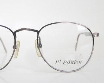 Vintage 1980s Round Eyeglasses P3 Glasses Copper Metallic Brushed Womens Ladies 80s Eighties Wire Rim Glasses Optical Frames Deadstock
