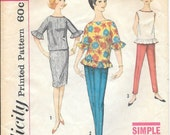 """Simplicity 4270 1960s Gidget Tops Pants and Skirt Vintage Sewing Pattern Size 14 Bust 34 """"Simple to Make"""""""