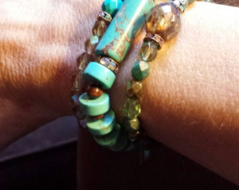 Turquoise Heshi Bead Stretch Bracelet alternated with Wooden Beads with Long Focal Bead