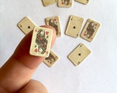 MINIATURE PLAYING CARDS-Alice in Wonderland-queen of Hearts Cards-Scrapbooking-Dollhouse cards-Ace of Spade-mini Deck of cards-Poker-Casino