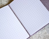 Ready to Ship - Lilac Mist Leather Journal - WHITE GRID Pages - Handbound Leather Book - 6 x 4 - Purple