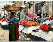 French Riviera Vintage Postcard - The Flower Market in Nice (Unused)