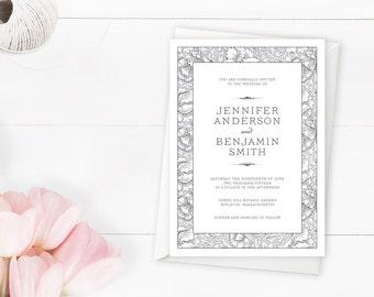 Floral Storybook Romantic Gray Wedding Invitation Suite