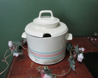 McCoy Soup Tureen Pink and Blue Stripe on Cream