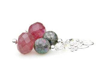 Amethyst Labradorite Gemstone Earrings Purple Plum Raspberry Silver Dangles Chic Posh High Fashion Everyday Easy To Wear by Mei Faith
