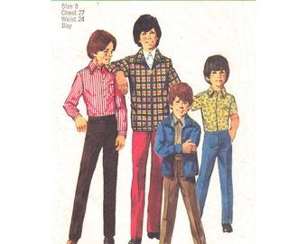 Boys Jacket, Shirt, Pants Pattern Simplicity 9595 Slim Trousers Boys Size 8 Sewing Pattern UNCUT