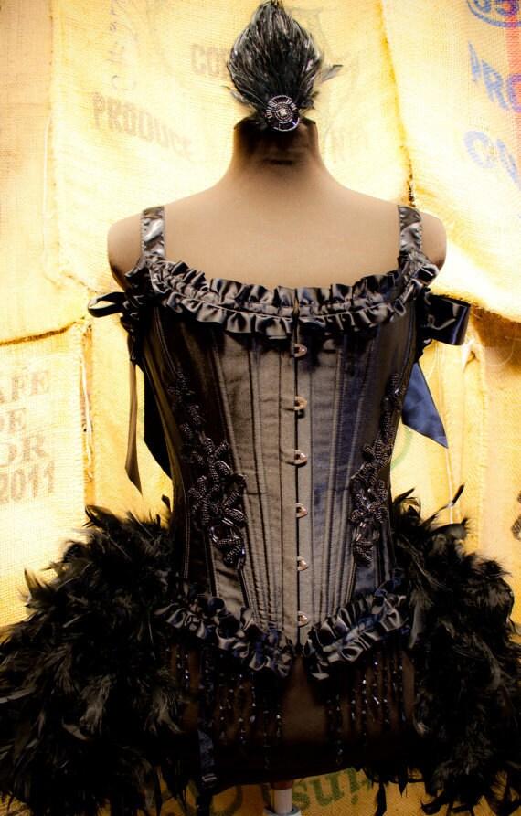 TWILIGHT Circus Burlesque Feather Costume Corset Black Swan Steampunk prom dress
