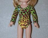 Gymnastics Leotard Doll Clothes green animal print  handmade for 14.5 inch Wellie Wishers tkct929