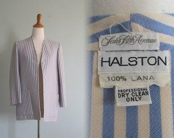 Vintage Halston Wool Jacket with Blue and White Stripes - Chic 70s Halston Blazer - Vintage 1970s Blazer M