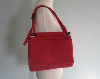 Vintage Red Woolen Bag by Toby Weston - Cute 80s Arts and Crafts Handbag - Vintage 1980s Purse