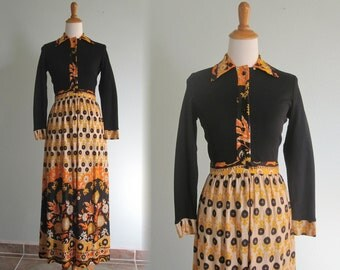 Vintage 1970s Dress - Amazing 70s Maxi Dress with Pucci Print Skirt - 70s Black and Orange Hostess Dress XS S
