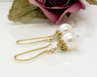Gold crystal and white pearl earrings, Gold Pearl drop wedding bridal jewelry