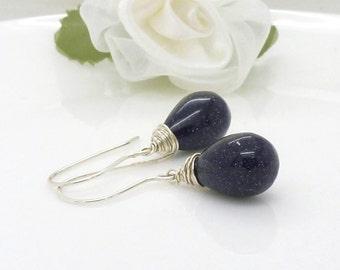 Dark navy blue goldstone earrings in sterling silver, big blue gemstone earrings