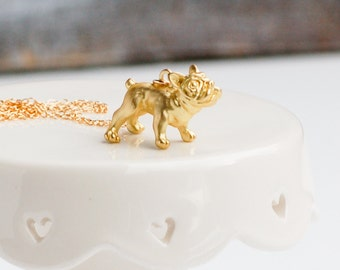 Gold Dog Necklace French Bulldog Pug 14K Good Dog Pet Pendant Animal Lover