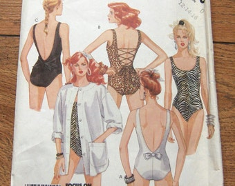 Vintage 80s  misses swimsuit and cover up sewing pattern McCalls 3150  sz 12-14-16 uncut