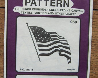 Vintage 80s Embroidery transfers 960 American Flag uncut 6 x 7, 10 x 14