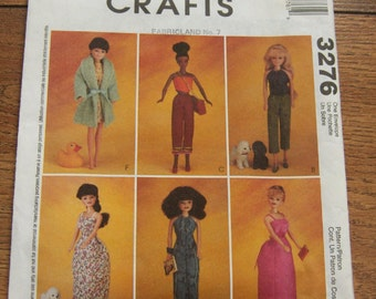 2001 McCalls pattern 3276 Fashion Doll Barbie Clothes uncut toy children girl