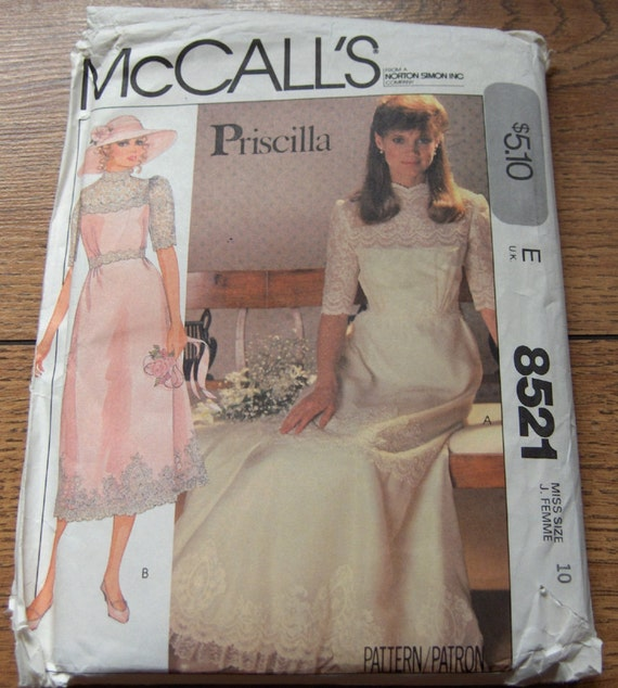Items Similar To Vintage 1983 McCalls Sewing Pattern 8521 Misses Bridal Gown Bridesmaid Dress Sz