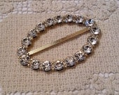 Vintage Oval Rhinestone Buckle, Large Buckle - Bridal, Heirloom