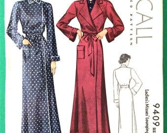 Uncut 1930s Misses' Lounging Wrap Robe Vintage Sewing Printed Pattern Bust 30