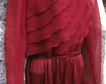 Medium Christmas Dress, crepe chiffon wavy ruffles gown, Sheer wine red dress, formal dress, cocktail party dress, maroon red burgundy dress