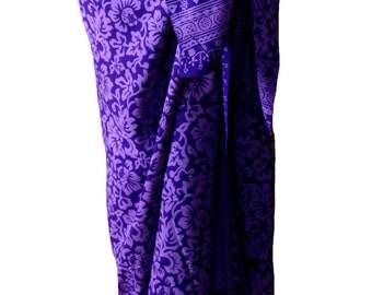 Beach Sarong Pareo Wrap Skirt - Womens Clothing Batik Sarong Purple Pareo Swimsuit Coverup Beachwear Gift for Her - Hawaiian Flowers Sarong