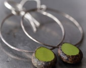 Sexy sterling silver hoop and olive green Czech glass bead earrings