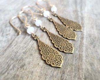 White Moonstone Earrings, Gold Drop Earrings, Moonstone Earrings,  Ornate Filigree Dangle,  Floral Antiqued Brass Earring, Gemstone Earrings