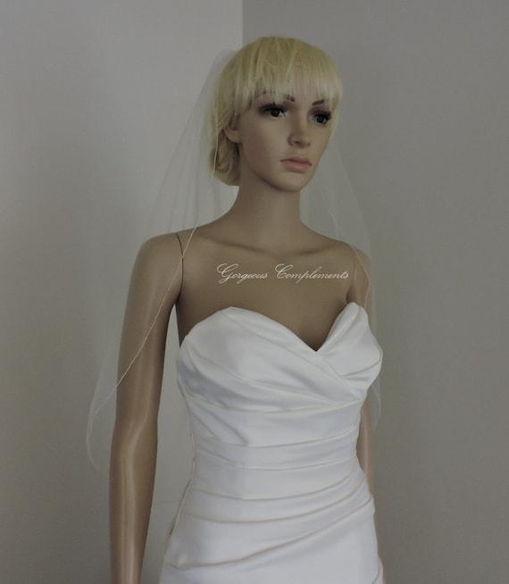 Wedding Veil Single Tier Pencil Edge Sheer Waist Length, Bridal Veil READY MADE PE33X50