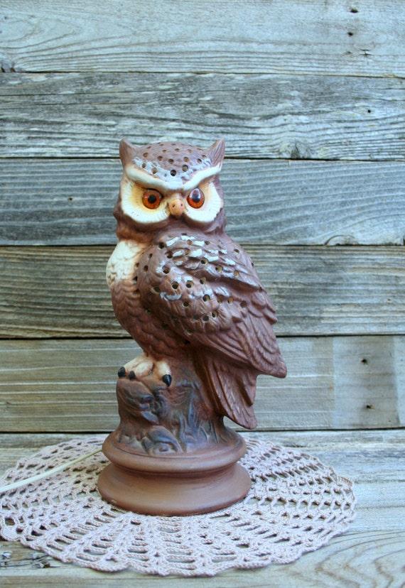 Vintage 1980 Ceramic Owl Night Lamp / Cabin / Rustic / Country Decor