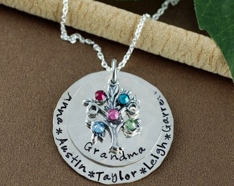 Family Tree Grandmother Necklace, Hand Stamped Necklace, Personalized Sterling Silver Necklace, Tree of Life Jewelry, Gift for Grandma