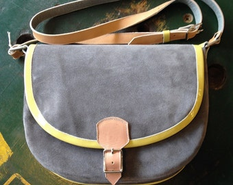 NEW! Grey Suede & Yellow Patent Leather Saddle Bag