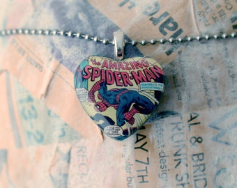 The Amazing Spider-Man Heart Shaped Resin Pendant, Hand Poured Comic Book Jewelry, Superhero Recycled Comic Spiderman and Rocket Racer