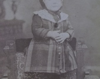 Shabby Antique Cabinet Photo-Darling Little Girl in Plaid Coat-Hat-Providence,RI